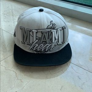 Miami Heat SnapBack Hat in White and Black